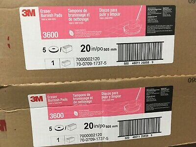 2 Boxes of O5 New 3M Floor buffer pads Eraser Burnish Pads Pink 3600 Buffing 20""