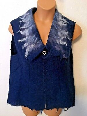 Felted Wool Sweater Vest Women's Size L COBALT BLUE WOOLY GIRLS North Dakota ND