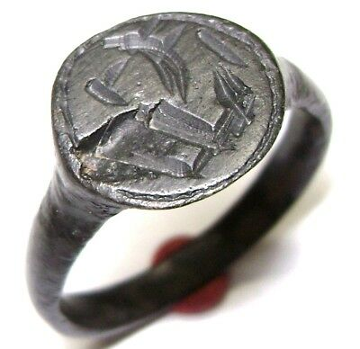 Ancient Medieval bronze ring seal with Dragon on bezel