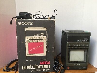 Sony Mega Watchman FD-510 Black & White Portable Tv