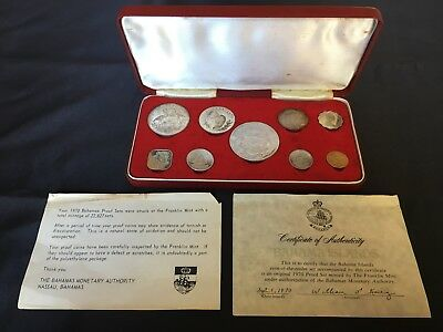 1970 Bahamas 9 coin Proof Set display box COA FRANKLIN MINT Sterling Silver