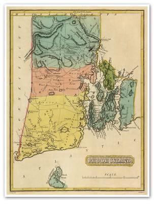 "LARGE Elegant USA Map of RHODE ISLAND circa 1822 Atlas Chart 18""x24"""
