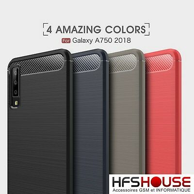 Pour Samsung Galaxy A7 2018 Coque Housse Etui Carbone Silicone Gel Case Cover