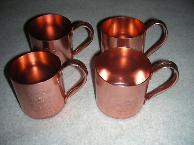 (4) Smirnoff Vodka Mule Cups Mugs Copper Anodized Aluminum Hong Kong (free ship)