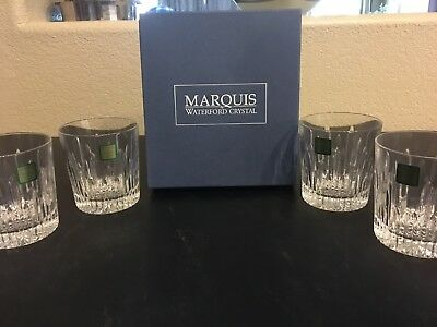 """Set Of 4 Waterford Crystal Marquis Barcelona Double Old Fashioned Glass  3 5/8"""""""