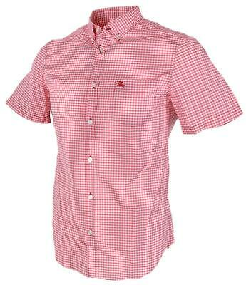 New Burberry Brit Men's $195 Fred Red White Check Short Sleeve Coton Shirt M, S