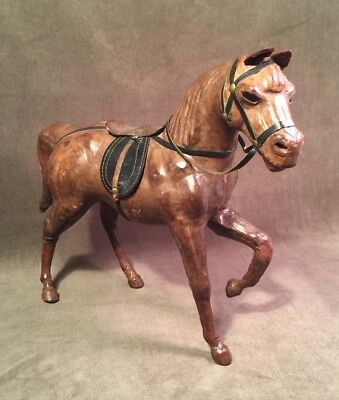 """Beautiful Leather Med Brown Horse Sculpture Figure 11.5"""" Saddle Glass Eyes"""