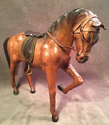 """Beautiful Leather Light Brown Horse Sculpture Figure 11.5"""" Saddle Glass Eyes"""