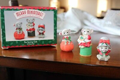 1996 Hallmark MERRY MINIATURES set of 3 collection the sewing club mice mouse