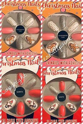 BNWT PRIMARK False Nails - Christmas 2018 DESIGNS 24 Nails with Adhesive Glue