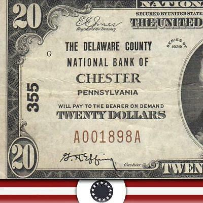 1929 $20 CHESTER, PA National Banknote, DELAWARE COUNTY  A001898A