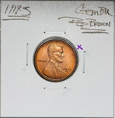 1919-S Lincoln Cent Wheat Penny Gem BU Red Brown