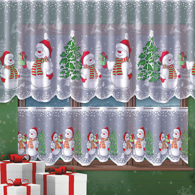 """Cafe Net Curtain Christmas Snowman Pattern DROP 23"""" OR 42""""  SOLD BY THE METRES"""