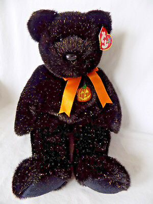 "Ty Beanie Buddies Haunt Black Halloween Bear 13"" Pumpkin Glitter Fur Plush Doll"
