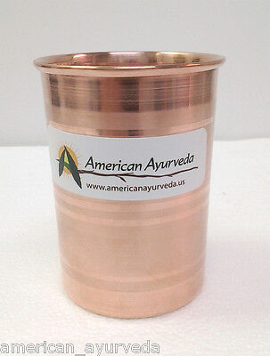 Pure Copper Cup 10 Oz Tumbler Glass Mug Holistic Health Yoga American Ayurveda