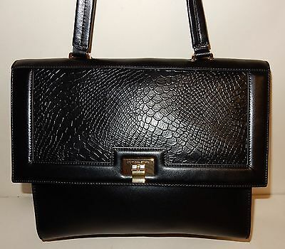3835ecccb737 H by Halston Smooth Leather Satchel with Reptile Embossed Flap Black