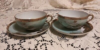 Lot Of 2 Antique Nippon Flying Swans Cups And Saucers