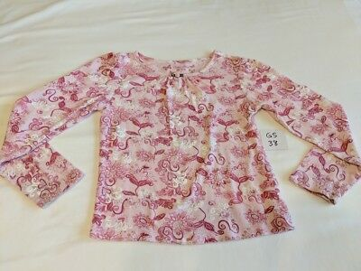 Girls Faded Glory Pink Heart Floral Print Long Sleeve Shirt Size 8