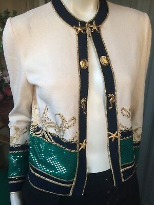 St. John Evening Marie Gray Santana Knit Ivory Gold Navy Nautical Jacket Sz 2