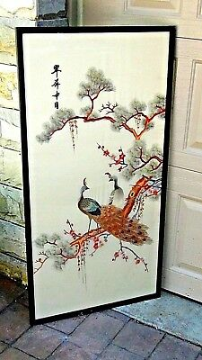 Antique Chinese Large  Silk Embroidery W/ Two Peackoks  Under A Pine Tree,signed