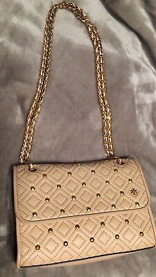 af9ba28e73eb Tory Burch Fleming Small Stud Quilted Goan Sand Leather Shoulder Bag  Pre-Owned