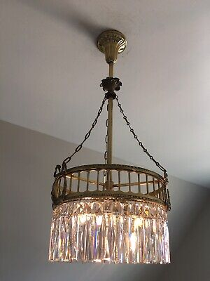 STUNNING Antique 19th Century Crystal and Bronze Chandelier