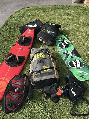 Kitesurfing complete setup - Kites, bars, boards, harnesses, pumps