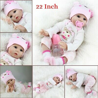 "22"" Reborn Baby Dolls Real Life Like Looking Newborn Baby Girl Doll + Clothes Uk"