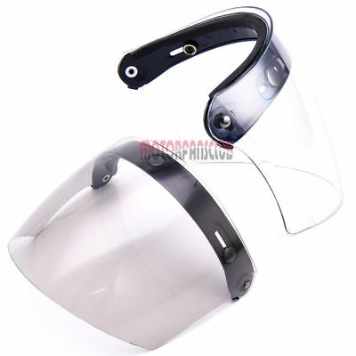 DOT Helmet Visors 3 Snap Flip Up Visor Full Face Wind Shield Motorcycle Lens