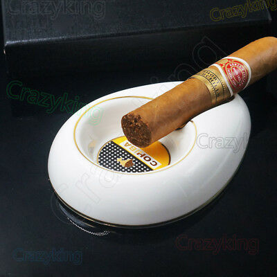 New Cohiba White Bone Ceramic Cigar Cigartte Ashtray Showing Stand Free Ship