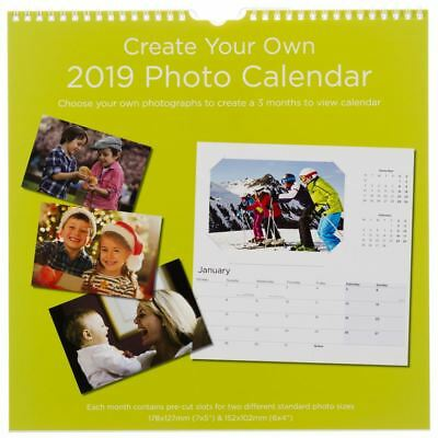 WHSmith Create Your Own Photographic Square Wall Calendar 2019 Month To View