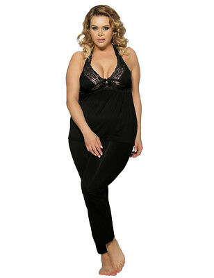 Womens Black Halter Lace Trim Pyjamas Set Lingerie Nightwear Size 18-22 Uk