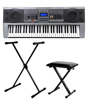 Professional 61 Keys Keyboard E-Piano 100 Sounds & Rhythms Usb Stand Bench Set