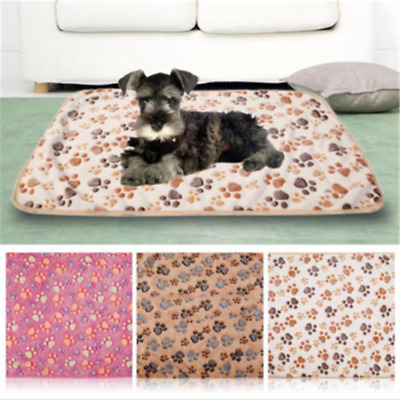 Pet Mat Paw Print Cat Dog Puppy Fleece Winter Warm Soft Blanket Bed Cushion HS
