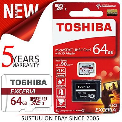 Toshiba EXCERIA M302 64GB Micro SD Memory Card with Adapter│90MB/S│4K Recording