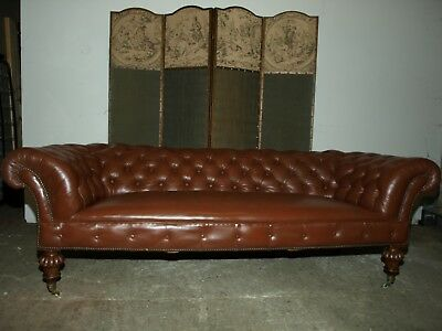 Victorian Leather Chesterfield sofa C1860, fully reupholstered, stunning !