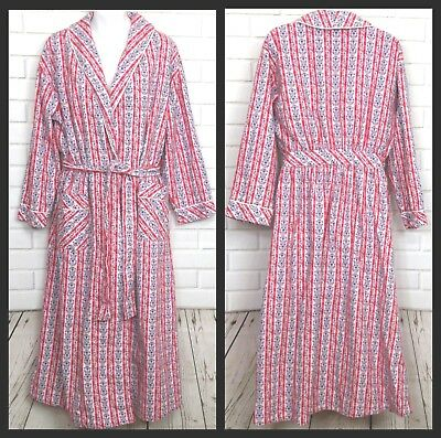 0048a7b69f Lanz Of Salzburg Flannel Robe Red Blue Cotton Hearts Wrap Belt Long Size  Small