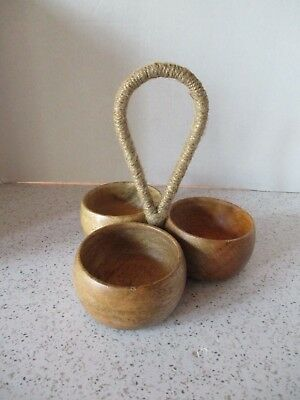 Vintage Mid-Century Modern Teak Wood Condiment Server, Iron Feet, Danish Modern