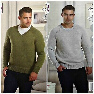 796b6e19a415 KNITTING PATTERN Mens Easy Knit Round or V-Neck Jumper DK King Cole 5228