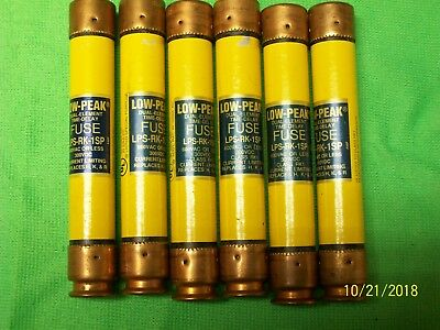 Lot Of 6 Bussmann 1 Amp Low Peak Dual Element Time Delay Fuses Lps-Rk-1Sp