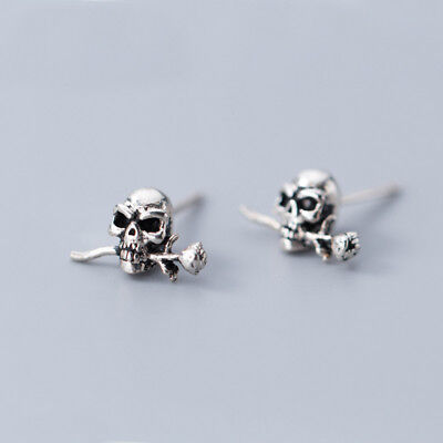 Solid 925 Sterling Silver Punk Gothic Skull Mens Womens Stud Earrings Cool