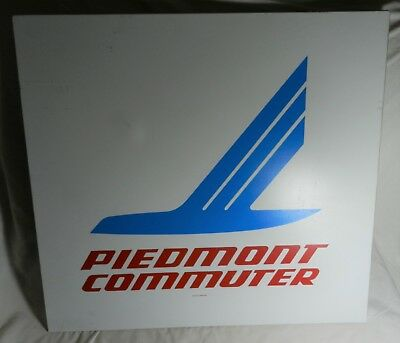 """Vintage Piedmont Airlines Commuter Sign - 23.75"""" X 22"""" tall - Plastic on Aluminu"""