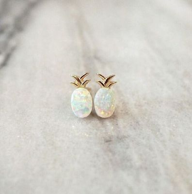 925 Silver White Opal Ear Studs Jewelry Women Fruit Pineapple Wedding Earrings