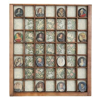 Miniature Portraits in Antique Wooden Printers Drawer Fab Shop Display Artwork