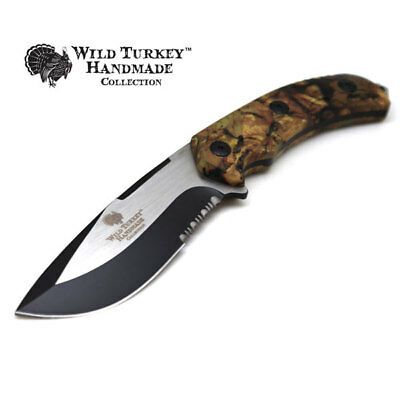Wild Turkey Handmade Collection Heavy Duty Fixed Blade Hunting Knife w/ Sheath