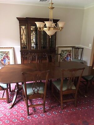 Dining Room Set- Drexel Mahogany Table, 8 Chairs & China Cabinet. 2 Leaves+ Pads