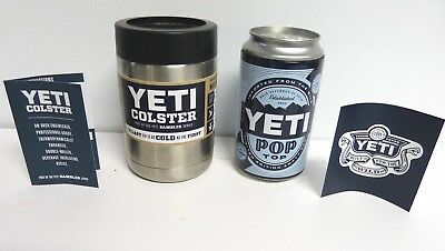 e345e28504a Yeti Rambler Colster 12 oz - STAINLESS STEEL with POP TOP CAN & STICKER -  NEW
