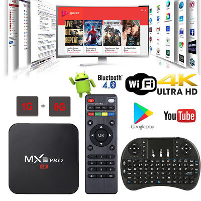 2018 MXQ PRO 4K HD Quad Core WiFi 3D Smart TV Box Media Player Android 7 Kodi 18