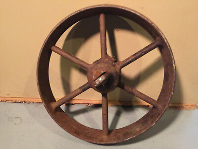 "Vintage Antique 12"" Heavy Cast Iron Farm Implement Cultivator Wheel With Shaft"