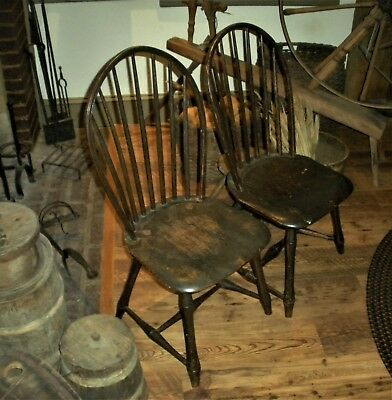ANTIQUE c1760 MATCHING COLONIAL WINDSOR CHAIRS ORIGINAL SPANISH BROWN PAINT vafo